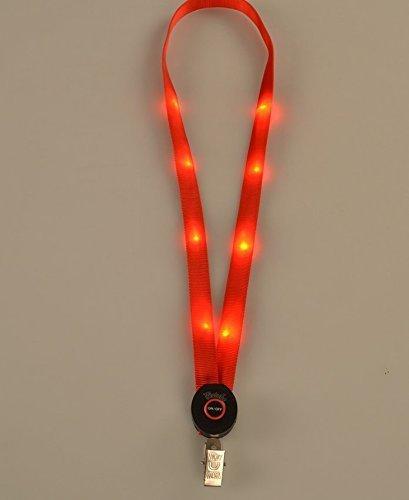 UChic 2PCS LED Light Up Lanyard Key Chain Badge Necklace Keys Holder Light Glow Neck Strap Band Lanyard Hanging Rope At Color Randomly (Lanyard Neck Strap Flashing)