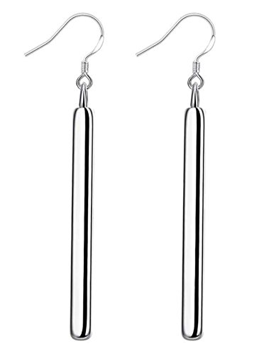 (Cutesmile Fashion Women's Jewelry 925 Sterling Silver Long Exaggerated Square Stick Drop Dangle Earrings)