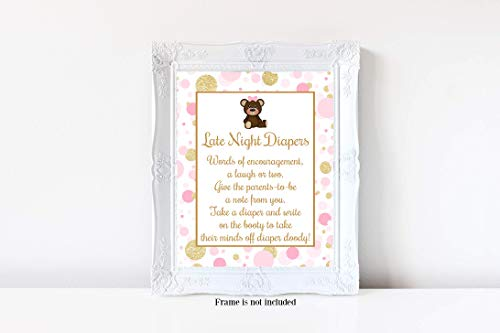 Teddy Bear Baby Shower, Late Night Diapers Sign, Pink and Gold Baby Shower, Girl Baby Shower, Baby Shower Games, 8x10 Glossy Sign, Frame is NOT ()