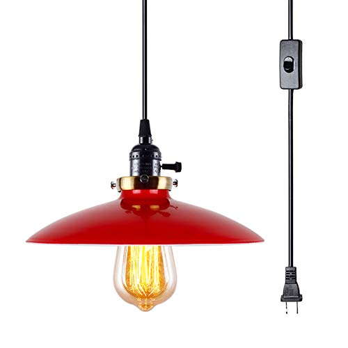 - Lampundit Industrial 1-Light Sockets Pendant Hanging Light Plug-in Light Fixture with On/Off Switch E26 Base Retro Black Cord, Vintage Light Fixture for Barn, Restaurants, Hotels and Shops(Red)