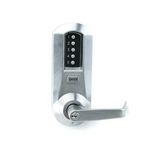 Kaba Simplex 5000 Series Cylindrical Mechanical Pushbutton Lock, 13mm Throw Latch, Floating Face Plate, 70mm Backset, Kaba Cylinder (Schlage ''C'' Keyway) Included, Winston Lever, Satin Chrome Finish by Simplex