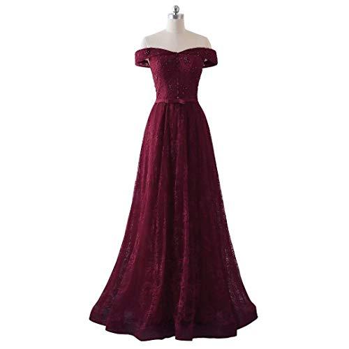Abend Langen Formalen Love von Boden der Spitze Abschlussball Schulter rdelnder L ngen Frauen B Weg Burgund Ball Kleid King's Kleidern 0Yq8w0
