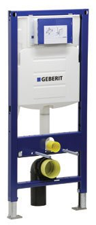 Geberit 111.335.00.5 Concealed Toilet Carrier Frame with UP320 Dual-Flush Tank (Traditional Flush Actuator)