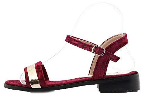 Sandales Suédé Femme Rouge Vineux GMBLB015133 Ouverture Unie Talon AgooLar d'orteil à Bas Couleur Boucle RqFWw1UwA