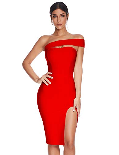 Meilun Womens Bodycon Bandage Dress Vestidos One Shoulder Midi Celebrity Party Dresses (Red, S) ()