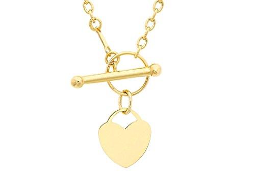 """Jewellery World Bague en or jaune 9carats Cœur gravé en T-Collier Femme-46cm/18"""""""