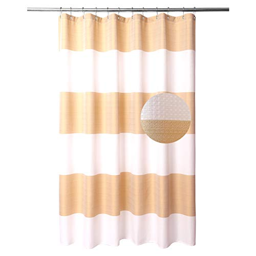 Striped Shower Curtain with Waffle Weave - Hotel Luxury, SPA, Heavy Duty Fabric, Water Repellent and Washable - White Gold Stripe, 72 x 72 inches for Bath Curtains