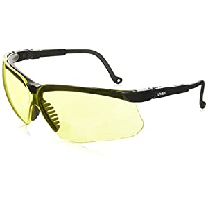 Uvex S3202 Genesis Safety Eyewear, Black Frame, Amber Ultra-Dura Hardcoat Lens