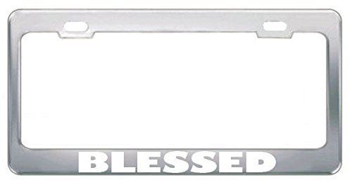 Blessed Religious GOD Jesus License Plate Frame Metal Chrome White Perfect for Men Women Car garadge Decor (Religious Jerseys)
