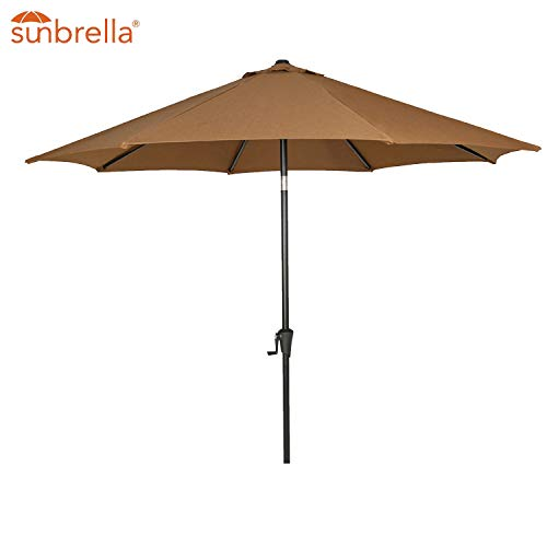 Patio Tree Outdoor Patio Sunbrella Umbrella 9-Feet Aluminum Market Table Umbrella, Canvas Teak