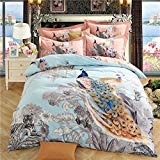 (TheFit Paisley Textile Bedding for Young Adult W177 Animal Wild Tiger and Peacock Cover Set 100% Sanded Cotton, Queen King Set, 4 Pieces (King))