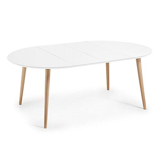 Kavehome Table Oqui extensible ronde 120-200 cm, naturel et blanc ...