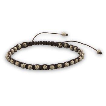 """Adjustable Faceted Pyrite Bracelet 7"""" - 10"""" adjustable brown cord woven bracelet with 4mm faceted pyrite beads."""