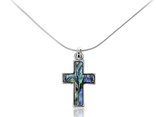 Alilang Womens Silver Tone Abalone Shell Holy Cross Pendant Necklace (Abalone Cross Pendant)