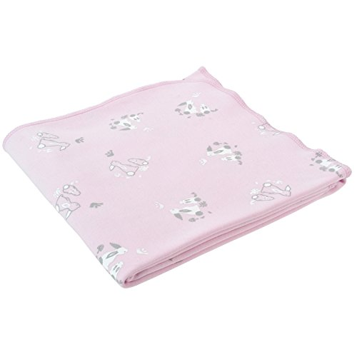 Under the Nile Baby Girl Swaddle Blanket Pink Bunny Print Organic Cotton