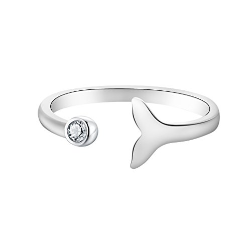 ONE A DAY Crystal Dolphin Whale Fish Tail Animal Open Finger Ring Women Girls Birthday Gift Jewelry