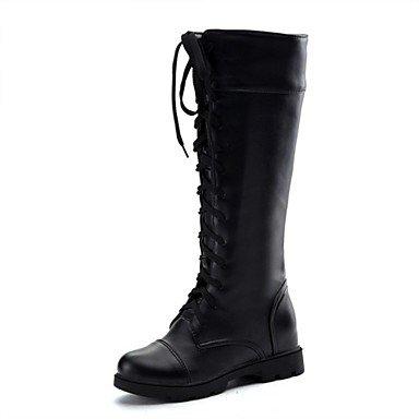 RTRY Zapatos De Mujer Polipiel Comodidad En El Invierno Moda Botas Botas Bajo El Talón Puntera Redonda Rodilla Botas Altas Lace-Up Para Vestimenta Casual Blanco Y Negro US6 / EU36 / UK4 / CN36