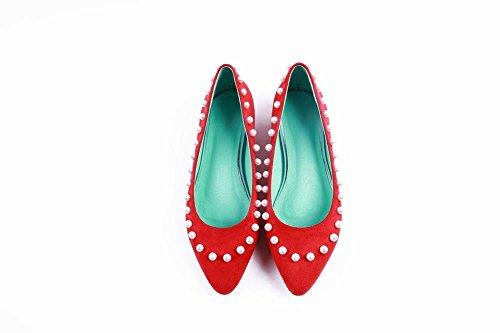 Show Shine Damesmode Kralen Loafers Flessenschoenen Rood