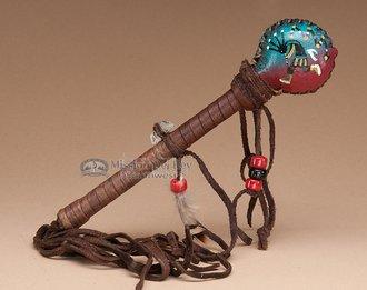 Native American Rawhide Rattle 7'' -Kokopelli by Mission Del Rey