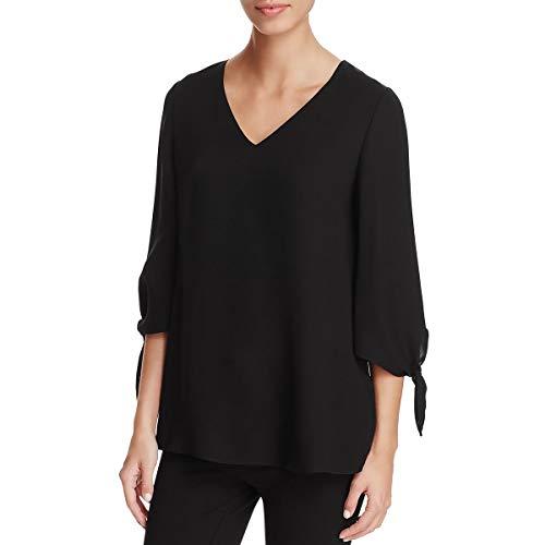 Lafayette 148 New York Womens Petites Kenna Silk V-Neck Blouse Black P