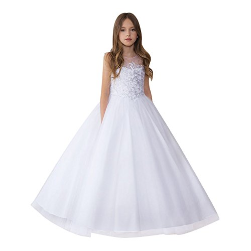 Calla Collection Little Girls White Glittery Embroidery Pageant Dress 3 by Calla Collection USA