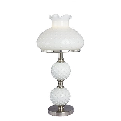 Hobnail Lamp - Fangio Lighting 5088BS Traditional Metal Accent Lamp with White Hobnail Balls and Shade, 11.25