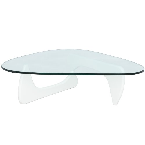 LeisureMod Imperial Triangle Coffee Table, White
