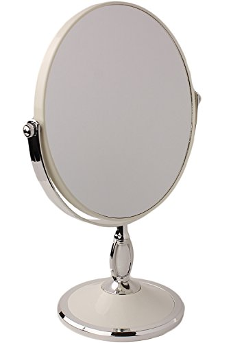 d Tabletop Vanity Makeup Mirror in 4 Colors by bogo Brands (White) (Round Vanity Stand Mirror)