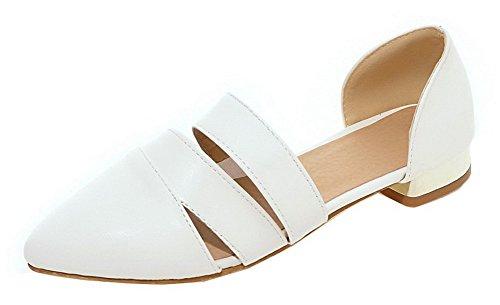 Mujeres Pu Vestir Cordones Blanco Aalardom Sandalias Mini Sólido De Tacón Sin OdqFF1