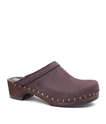 Sandgrens Swedish Low Heel Wooden Clog Mules for Women | Athens Fudge
