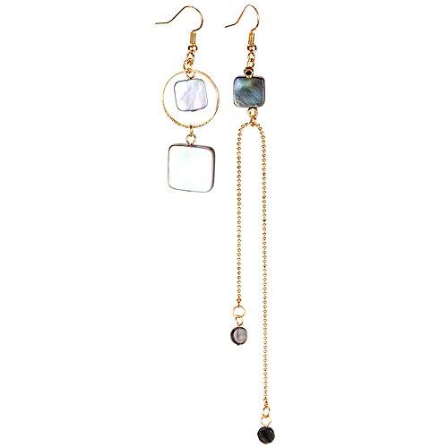 VEINTI+1 Korean Style Asymmetric Geometry Design with Long Pendant Ear Clips/Earrings for Women's Accessories (Ear ()