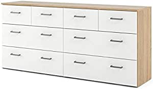 Tvilum 8 Drawer Double Dresser Oak Structure White Furniture Decor Amazon Com
