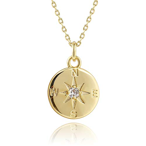 COZLANE 14K Gold Compass Disc Coin Necklace CZ BFF Friendship Pendant Necklaces for Teen - Pendant Stone Circle Journey