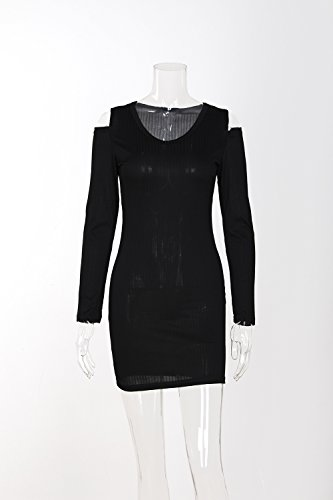 Shoulder Sleeve Club BetterGirl Long Bodycon Black Party Dress TM Women Mini Sexy Cold ttqY6zn
