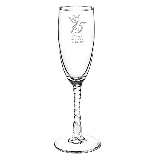 Personalized Color Printed Twisted Stem Champagne Flute - Princess Quince - Silver - 12 pack (Twisted Stem Flute)