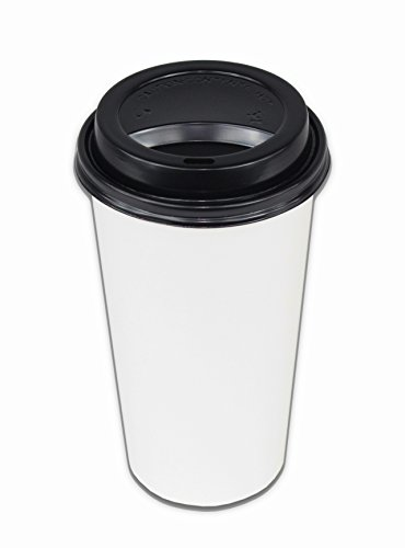 2dayShip 100 Pack WHITE Paper Coffee Hot Cups with BLACK Tra