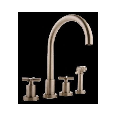Graff Widespread Bath Faucet - Infinity Two Handle Widespread Kitchen Faucet with Side Spray Finish: Steelnox