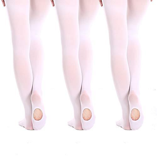 MANZI 3 Pairs Convertible Transition Ballet Dance Tights 40 Denier -