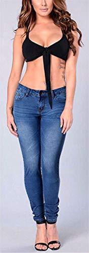 Mezclilla Vaqueros Pantalones Huixin Elásticos Baja Botones Colour Stretch Bolsillos Con De Mujer Cintura Ajustados 6H5zq5wxC