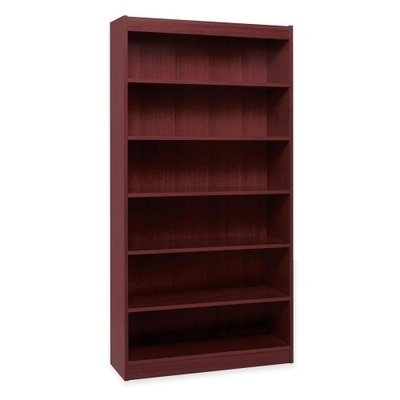 Lorell 6-Shelf 36 x 12 x 84-Inch Panel End Hardwood Veneer Bookcase, Mahogany