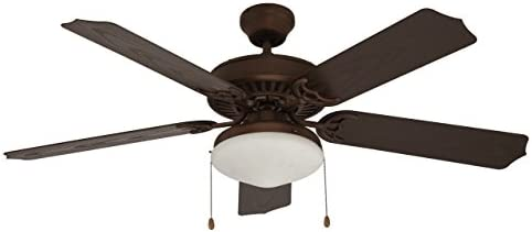 Trans Globe Lighting F-1003 ROB Protruding Mount, 5 Walnut Textured Blades Ceiling fan with 26 watts light, Oil-rubbed Bronze