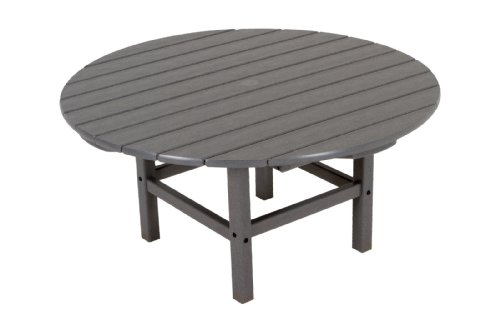 """POLYWOOD RCT38GY Round 38"""" Conversation Table, Slate Grey"""