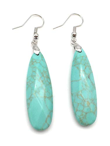 xinpeng Womens Tears Water Drop Chakra Charm Semi-Precious Natural Gemstone Teardrop Dangle Hook Earrings Pair (Blue ()