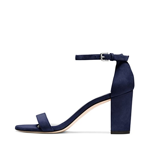 Toe Open for Fashion Women Navy Size 4 15 Heels Dress FSJ Ankle US Straps with Shoes Sandals Chunky RCwwPyqz8