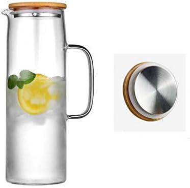 ガラスコールドケトル高温耐熱熱家庭用ティーケトルクールホワイト沸騰水カップ北欧 QDDSP (Color : 7.6×27×10cm)