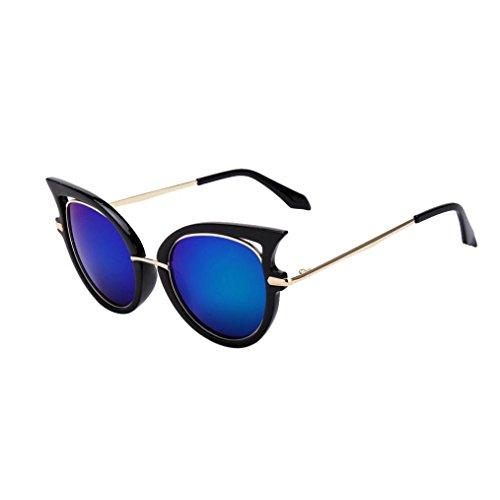 OverDose, Femmes Lunettes De Soleil Yeux De Chat Avec Monture En MéTal Et DéCoupes Fantaisie Mirror Lens Sunglasses (G)