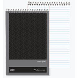 Office Depot(R) Brand Professional Steno Books, 6in. x 9in, Gregg Ruled, 70 Sheets, 140 Pages, Black, Pack of 12 by Office Depot