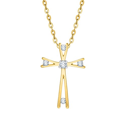 Bezel Set Diamond Cross Pendant Necklace in 14K Yellow Gold (1/10 cttw) (Color GH, Clarity -