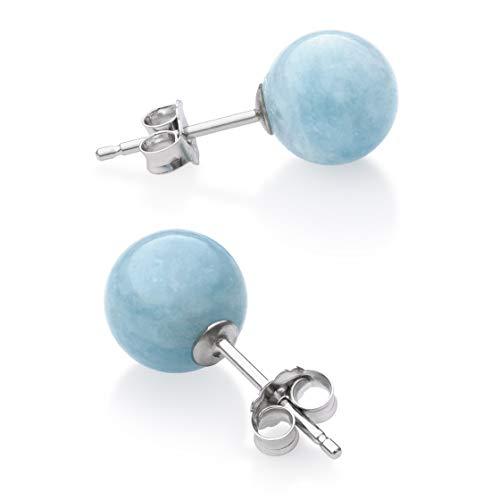 (Sterling Silver Natural Milky Aquamarine Gemstone Round Blue Stud Earrings)