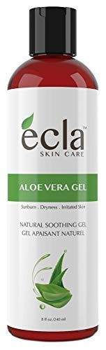 Aloe Vera Gel for Face, Body and Hair - Made with Organic 100% Pure Cold Pressed Juice, Not Powder (8 Oz - 240ml).